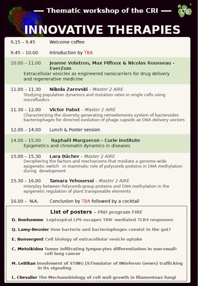 Thematic Workshop: Innovative Therapies
